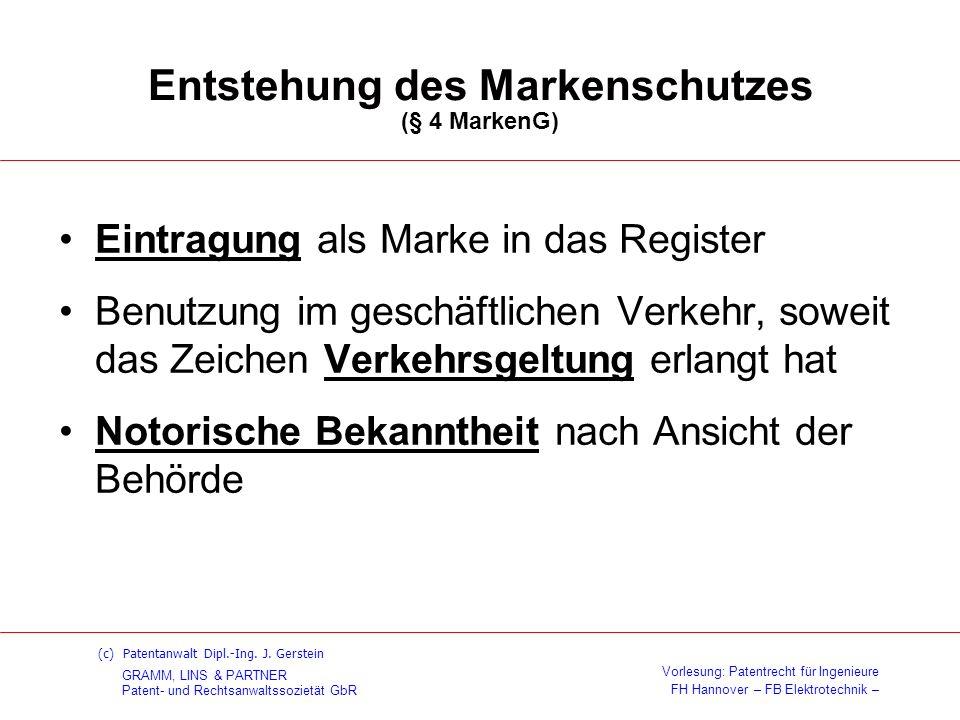 Entstehung des Markenschutzes (§ 4 MarkenG)