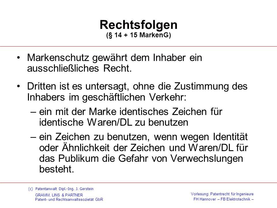 Rechtsfolgen (§ 14 + 15 MarkenG)
