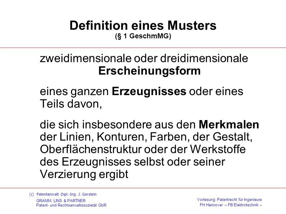 Definition eines Musters (§ 1 GeschmMG)