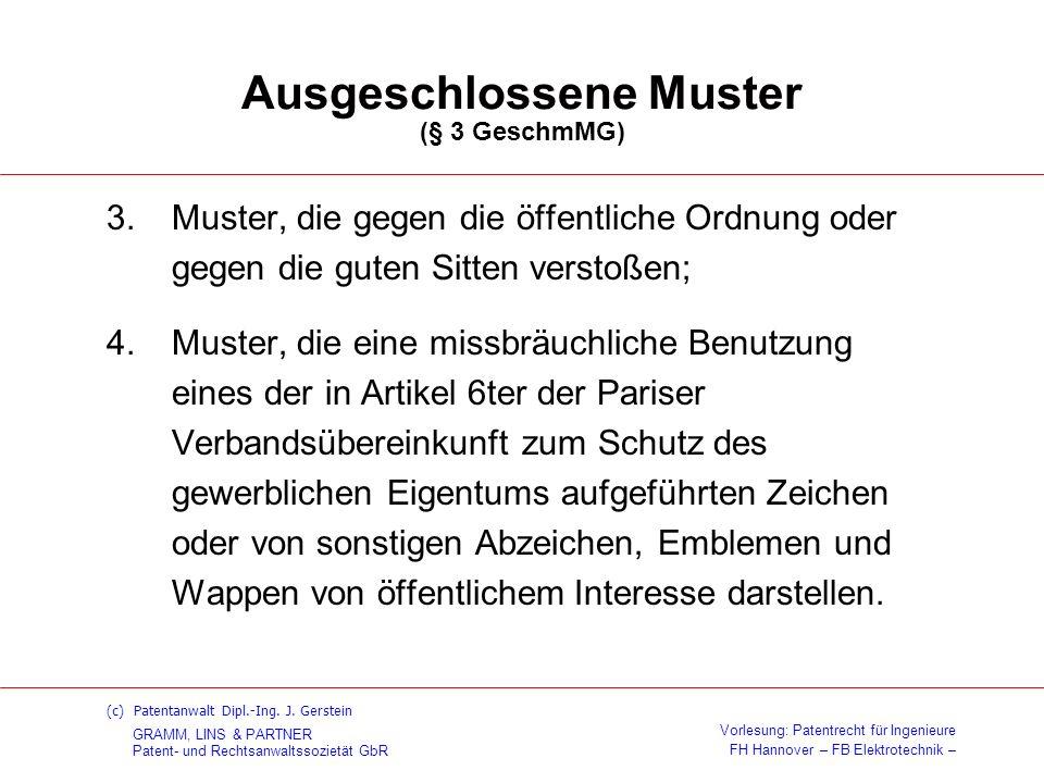 Ausgeschlossene Muster (§ 3 GeschmMG)