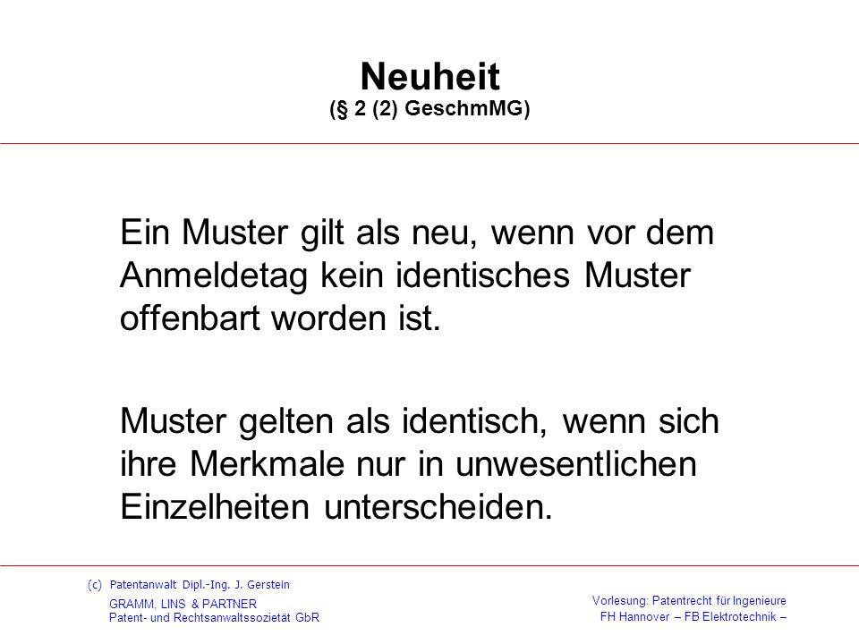 Neuheit (§ 2 (2) GeschmMG)