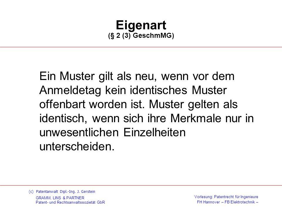 Eigenart (§ 2 (3) GeschmMG)