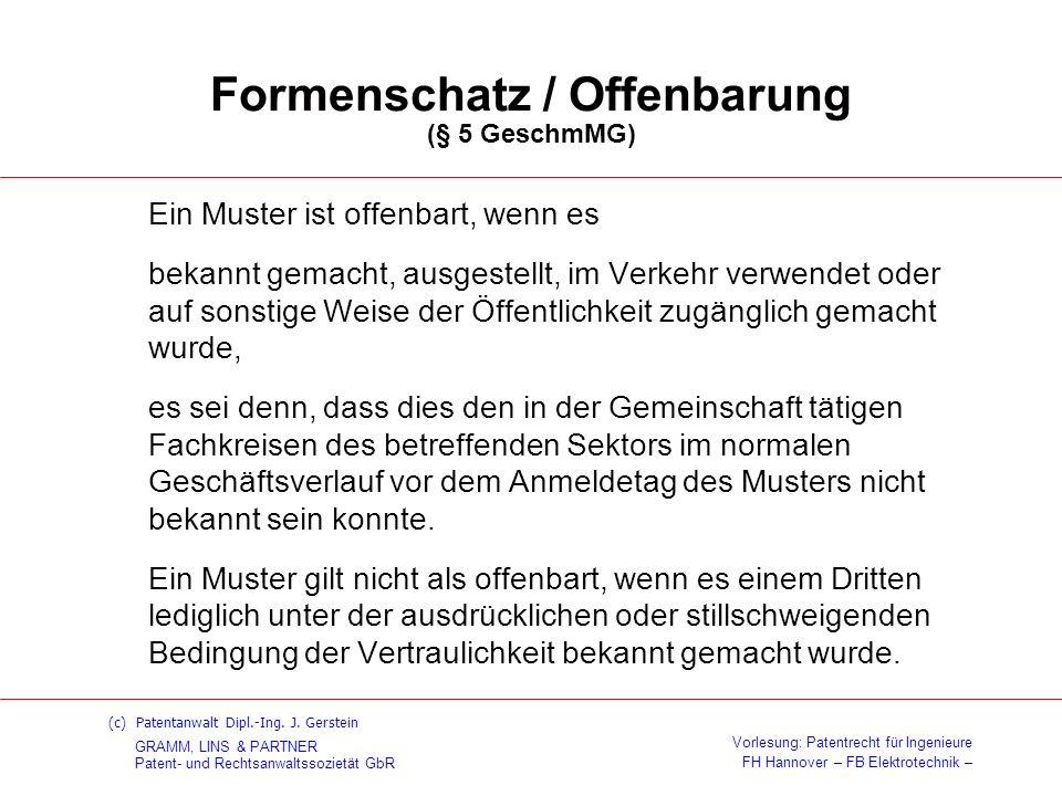 Formenschatz / Offenbarung (§ 5 GeschmMG)