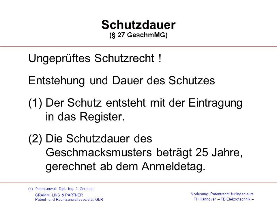 Schutzdauer (§ 27 GeschmMG)
