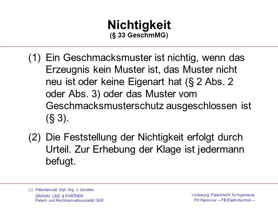 Nichtigkeit (§ 33 GeschmMG)