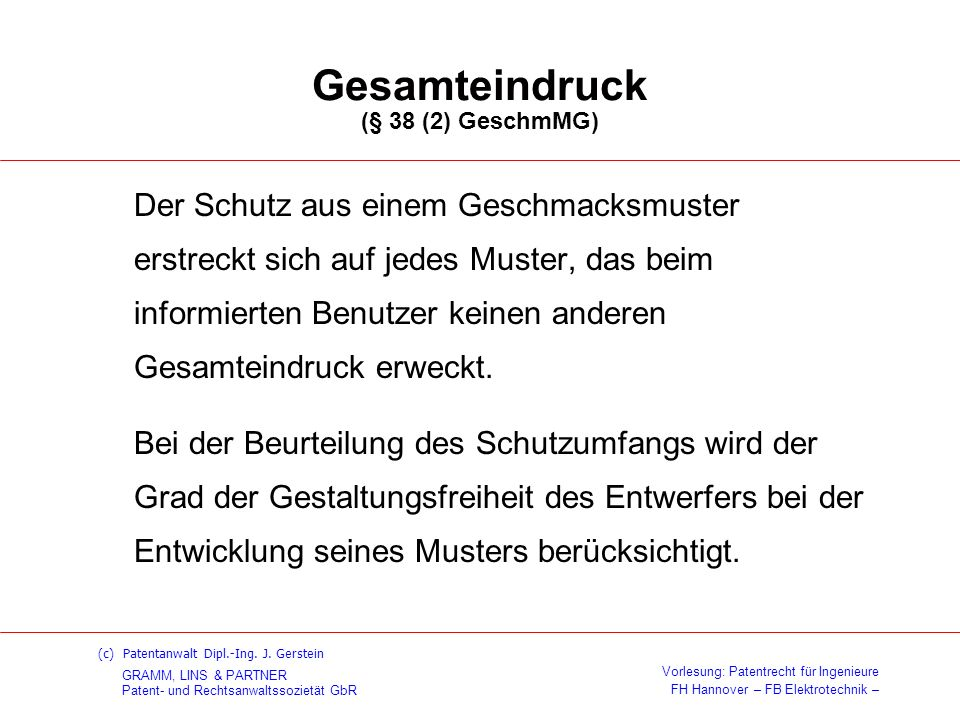 Gesamteindruck (§ 38 (2) GeschmMG)