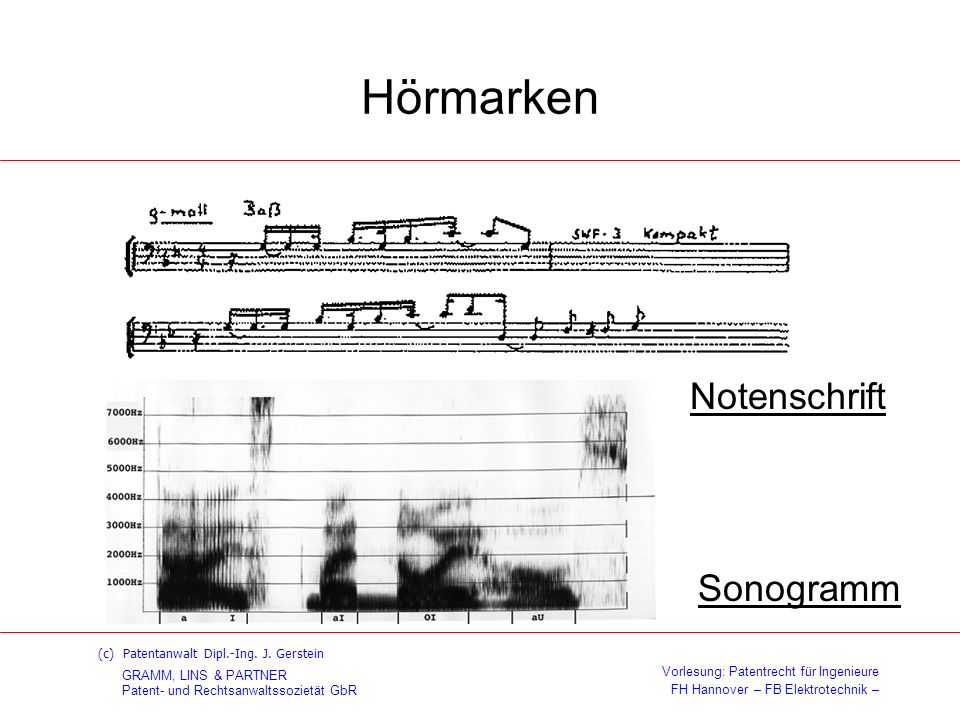 Hörmarken Notenschrift Sonogramm