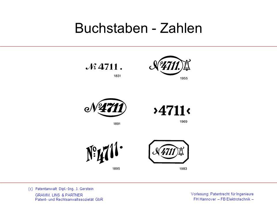 Buchstaben - Zahlen (c) Patentanwalt Dipl.-Ing. J. Gerstein