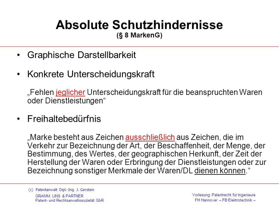 Absolute Schutzhindernisse (§ 8 MarkenG)