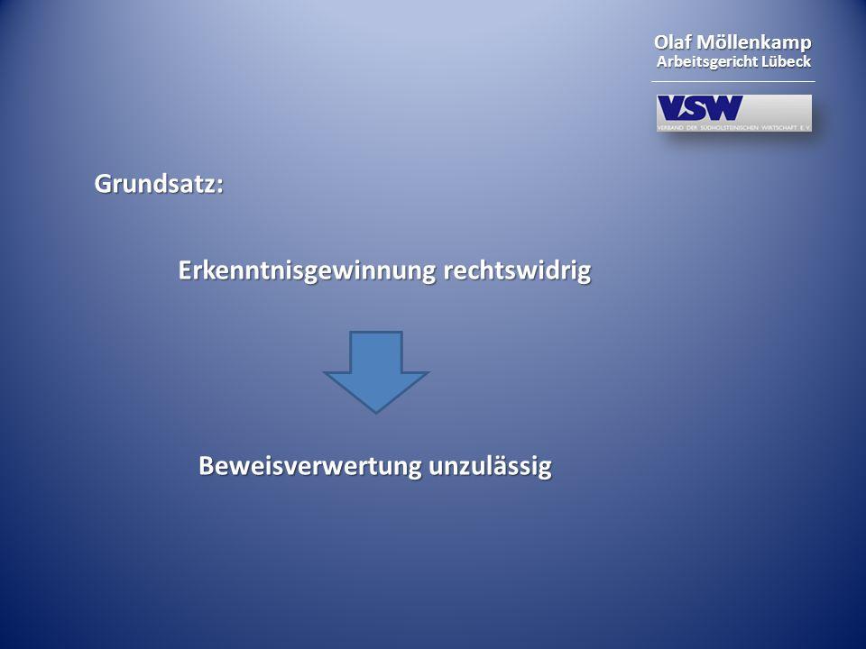 Grundsatz: Erkenntnisgewinnung rechtswidrig Beweisverwertung unzulässig