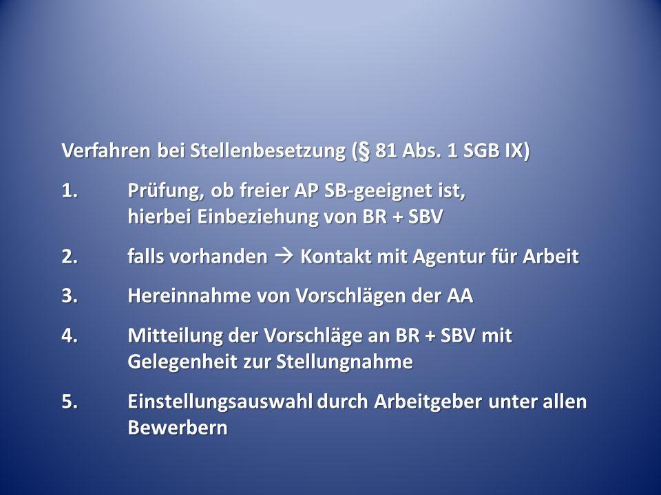 Verfahren bei Stellenbesetzung (§ 81 Abs. 1 SGB IX)