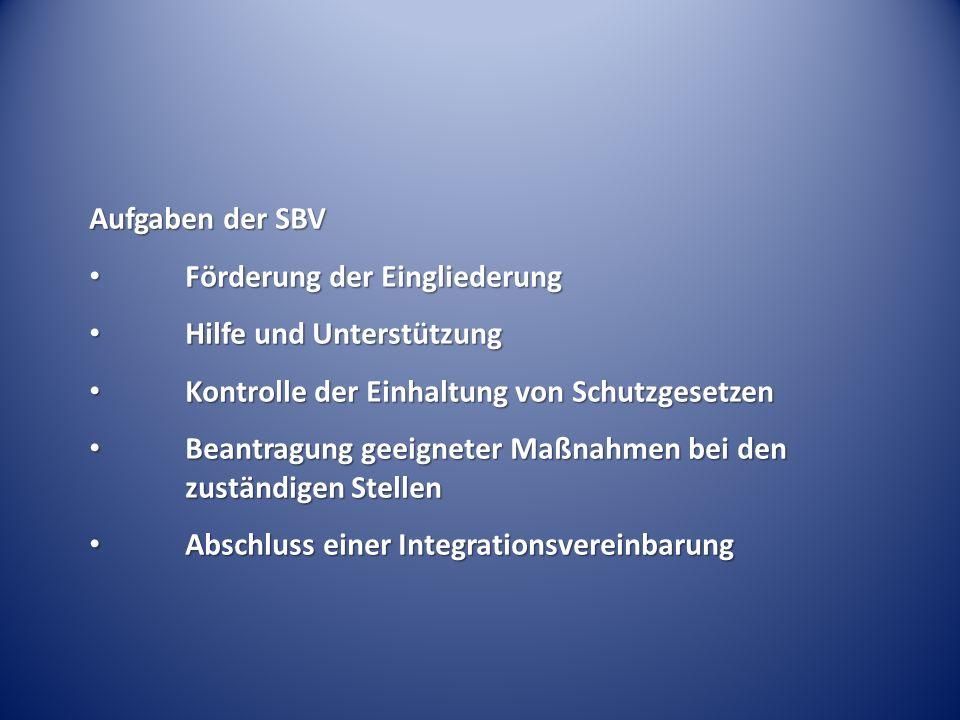 Aufgaben der SBV Förderung der Eingliederung. Hilfe und Unterstützung. Kontrolle der Einhaltung von Schutzgesetzen.