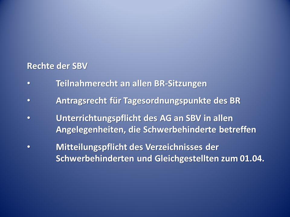 Rechte der SBV Teilnahmerecht an allen BR-Sitzungen. Antragsrecht für Tagesordnungspunkte des BR.