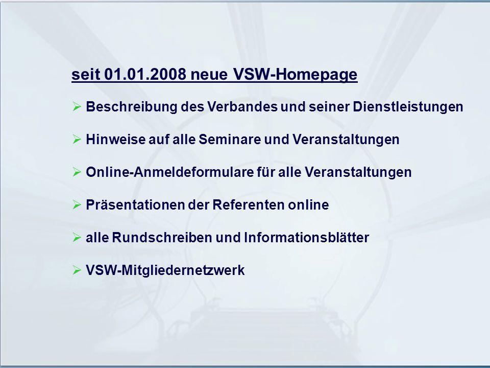 seit 01.01.2008 neue VSW-Homepage