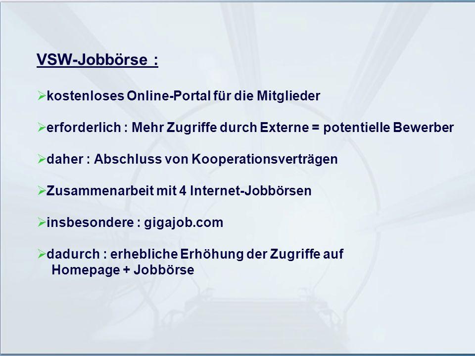 VSW-Jobbörse : kostenloses Online-Portal für die Mitglieder