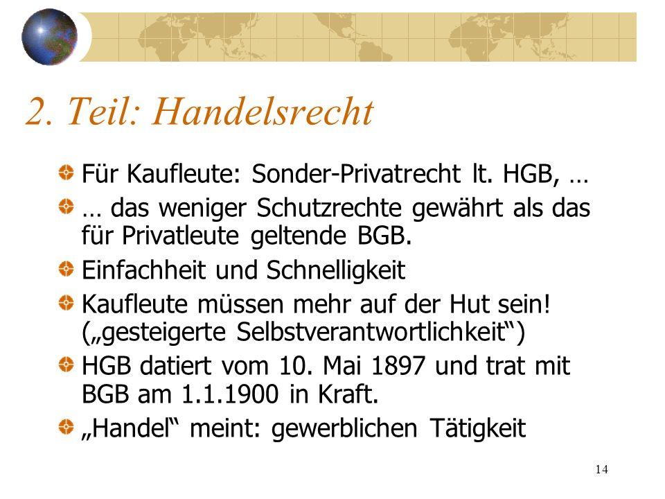 2. Teil: Handelsrecht Für Kaufleute: Sonder-Privatrecht lt. HGB, …