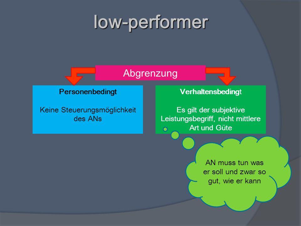 low-performer Abgrenzung Personenbedingt