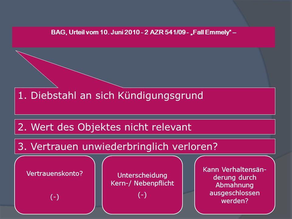 """BAG, Urteil vom 10. Juni 2010 - 2 AZR 541/09 - """"Fall Emmely –"""
