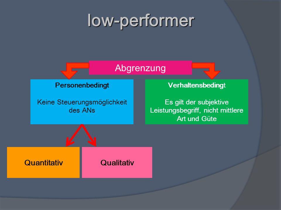 low-performer Abgrenzung Quantitativ Qualitativ Personenbedingt