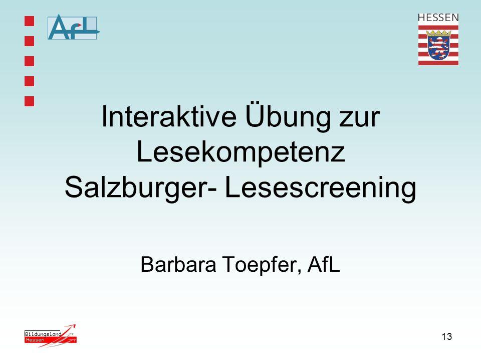 Interaktive Übung zur Lesekompetenz Salzburger- Lesescreening