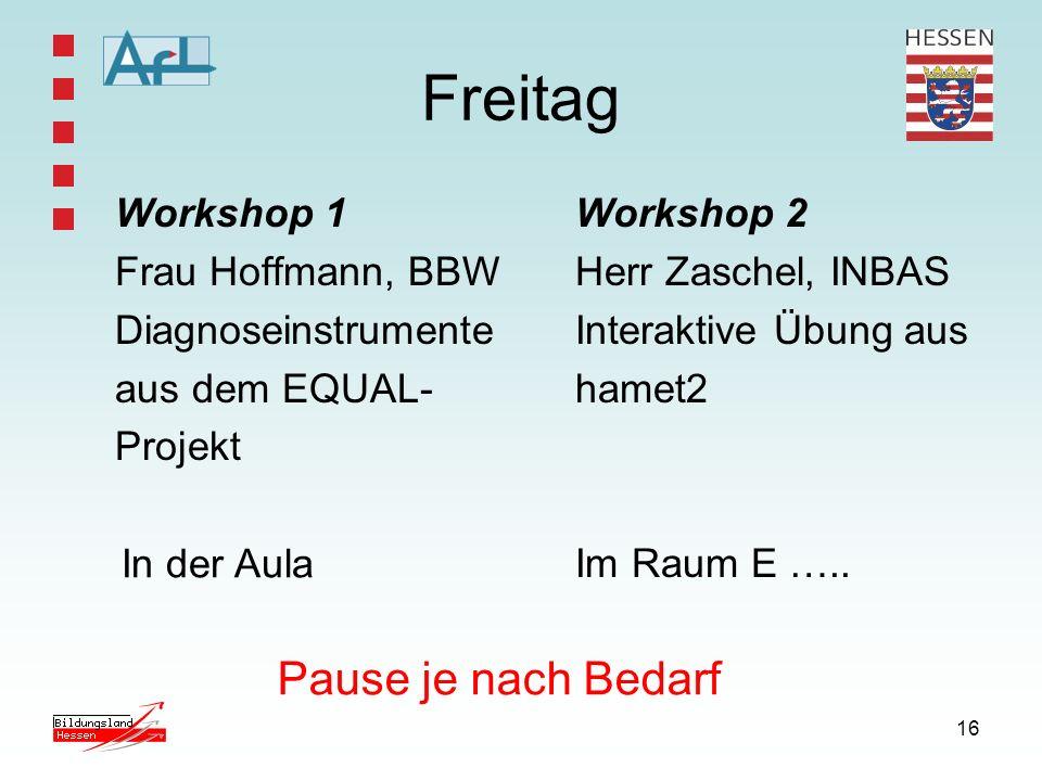 Freitag Pause je nach Bedarf Workshop 1 Frau Hoffmann, BBW