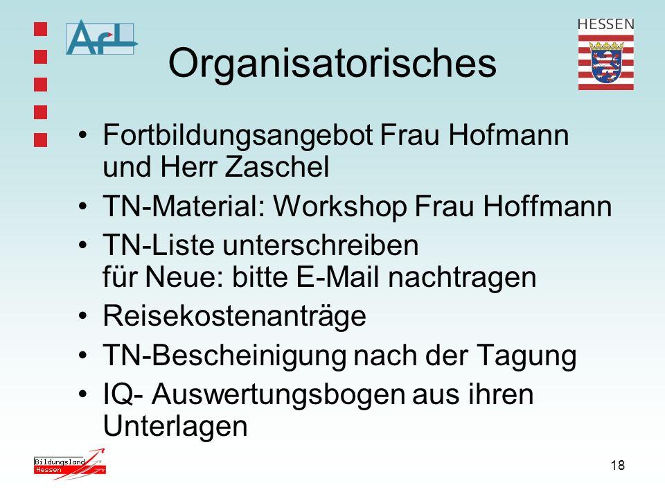 Organisatorisches Fortbildungsangebot Frau Hofmann und Herr Zaschel
