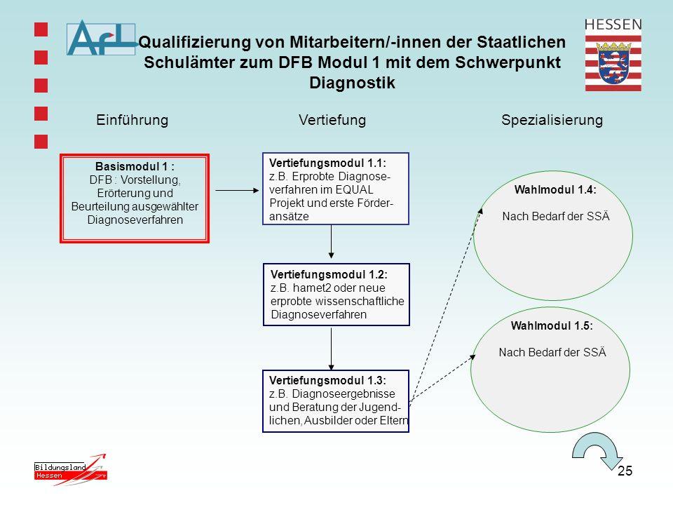 Qualifizierung von Mitarbeitern/-innen der Staatlichen Schulämter zum DFB Modul 1 mit dem Schwerpunkt Diagnostik