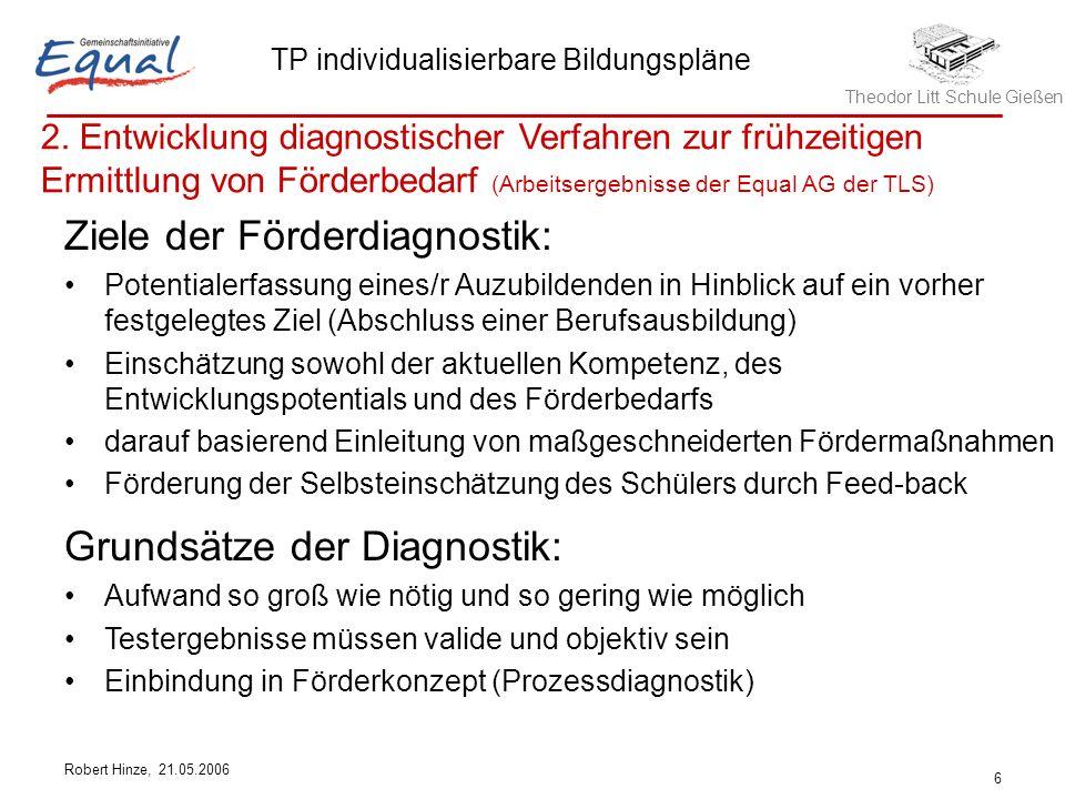 Ziele der Förderdiagnostik: