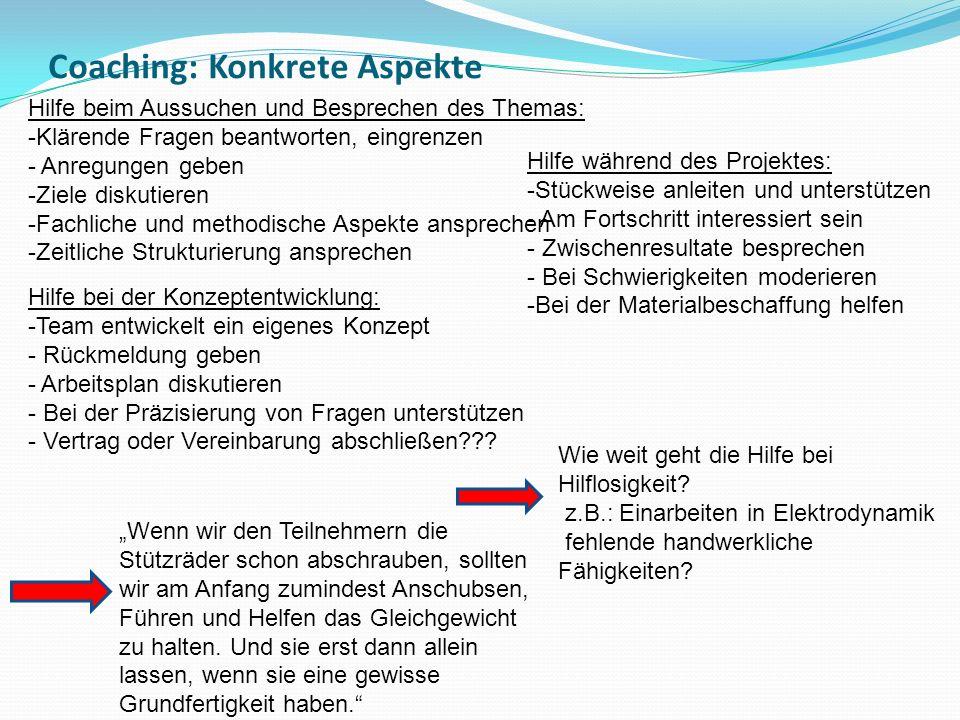 Coaching: Konkrete Aspekte
