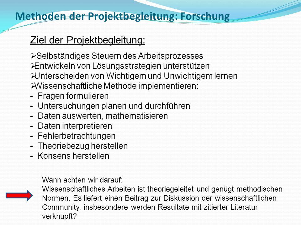 Methoden der Projektbegleitung: Forschung