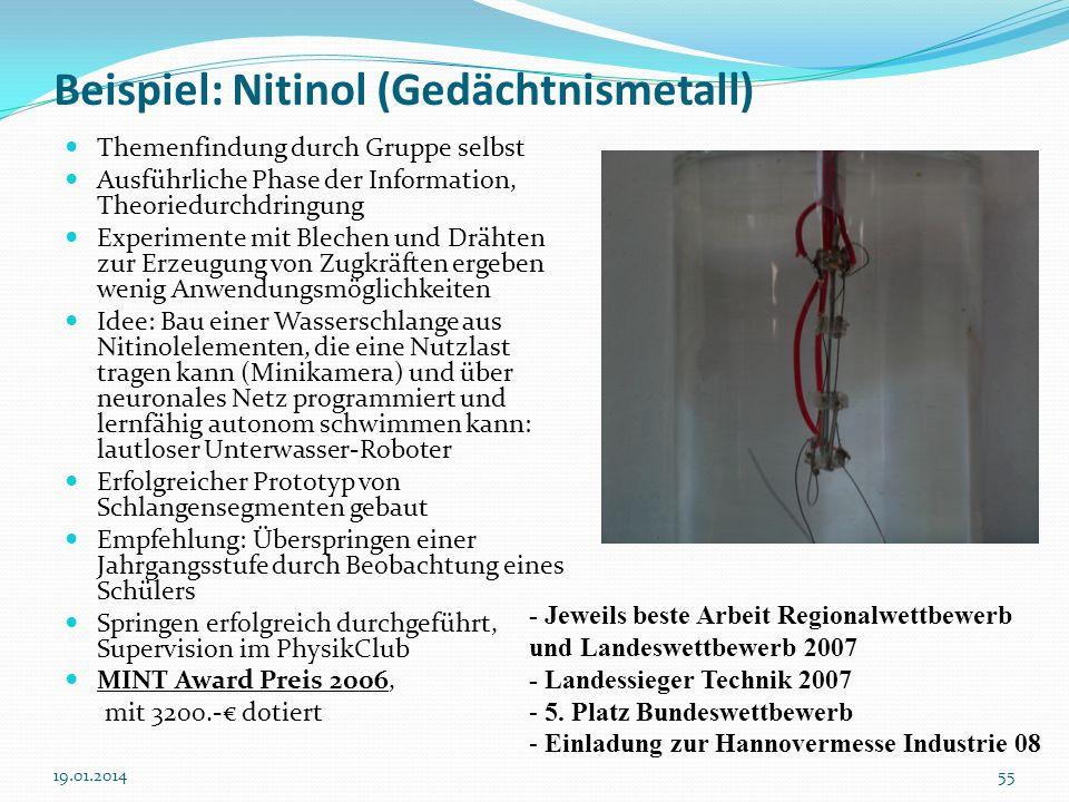 Beispiel: Nitinol (Gedächtnismetall)