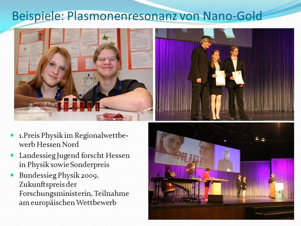 Beispiele: Plasmonenresonanz von Nano-Gold