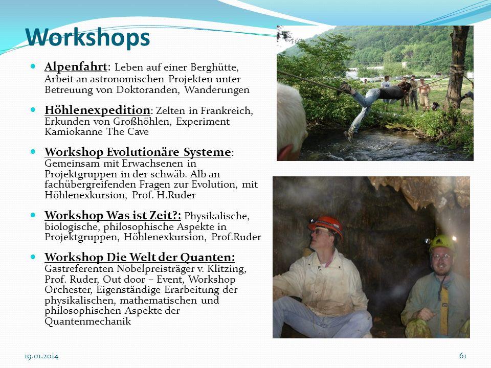 WorkshopsAlpenfahrt: Leben auf einer Berghütte, Arbeit an astronomischen Projekten unter Betreuung von Doktoranden, Wanderungen.