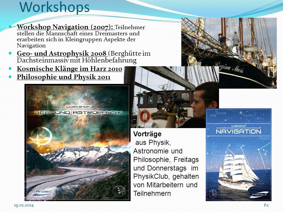 WorkshopsWorkshop Navigation (2007): Teilnehmer stellen die Mannschaft eines Dreimasters und erarbeiten sich in Kleingruppen Aspekte der Navigation.