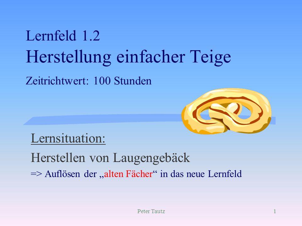 Lernfeld 1.2 Herstellung einfacher Teige Zeitrichtwert: 100 Stunden