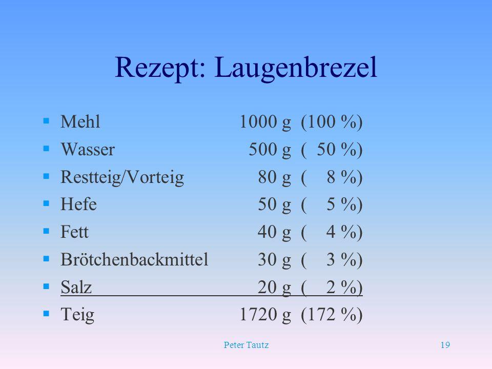 Rezept: Laugenbrezel Mehl 1000 g (100 %) Wasser 500 g ( 50 %)