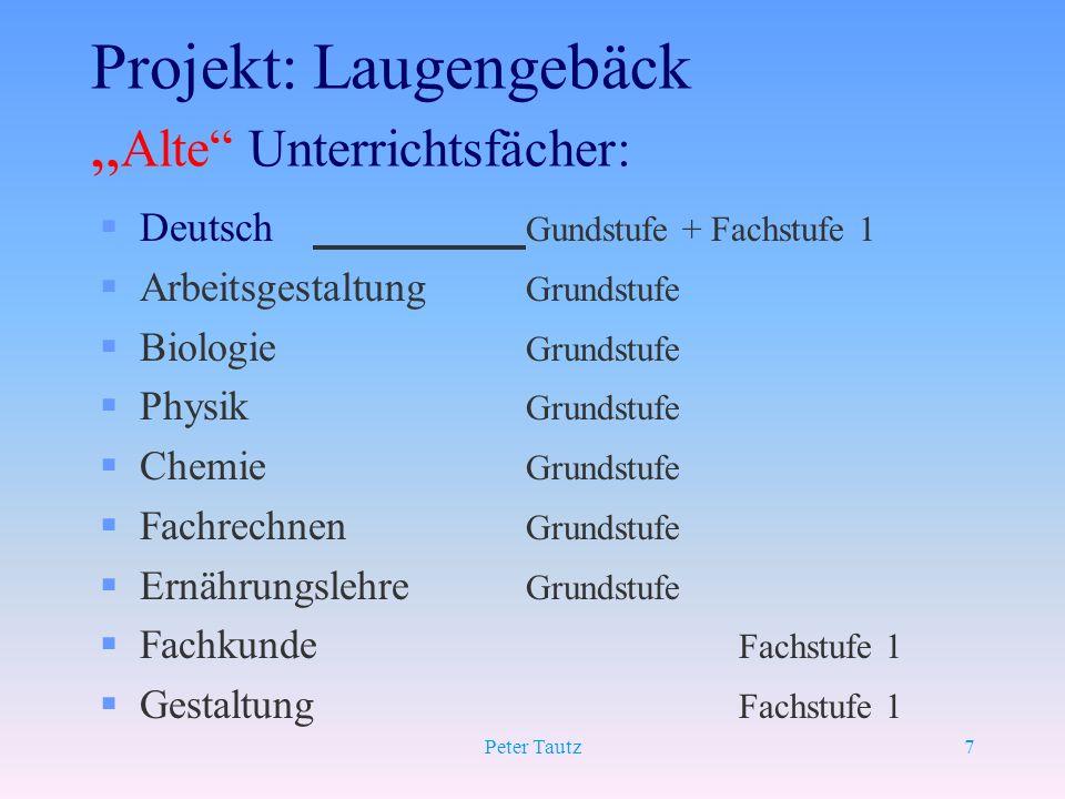 "Projekt: Laugengebäck ""Alte Unterrichtsfächer:"