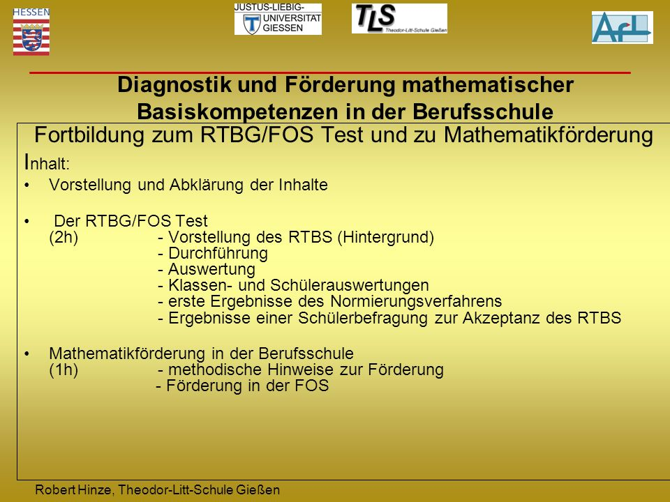 Fortbildung zum RTBG/FOS Test und zu Mathematikförderung