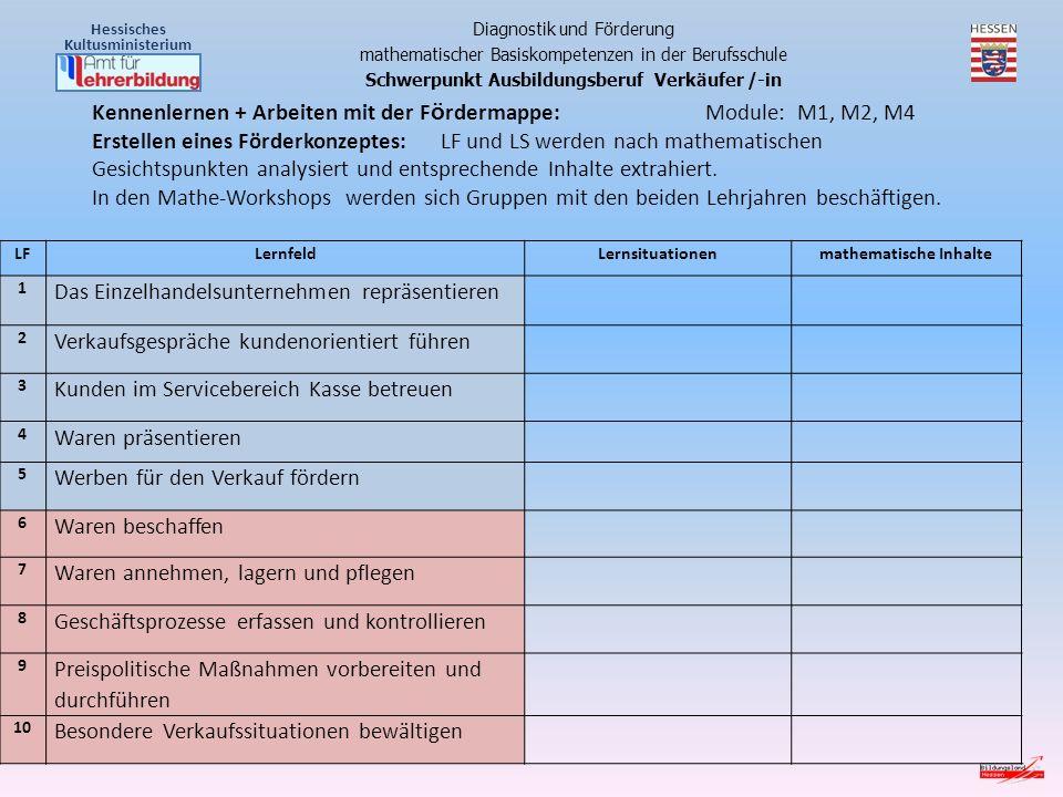 Kennenlernen + Arbeiten mit der Fördermappe: Module: M1, M2, M4