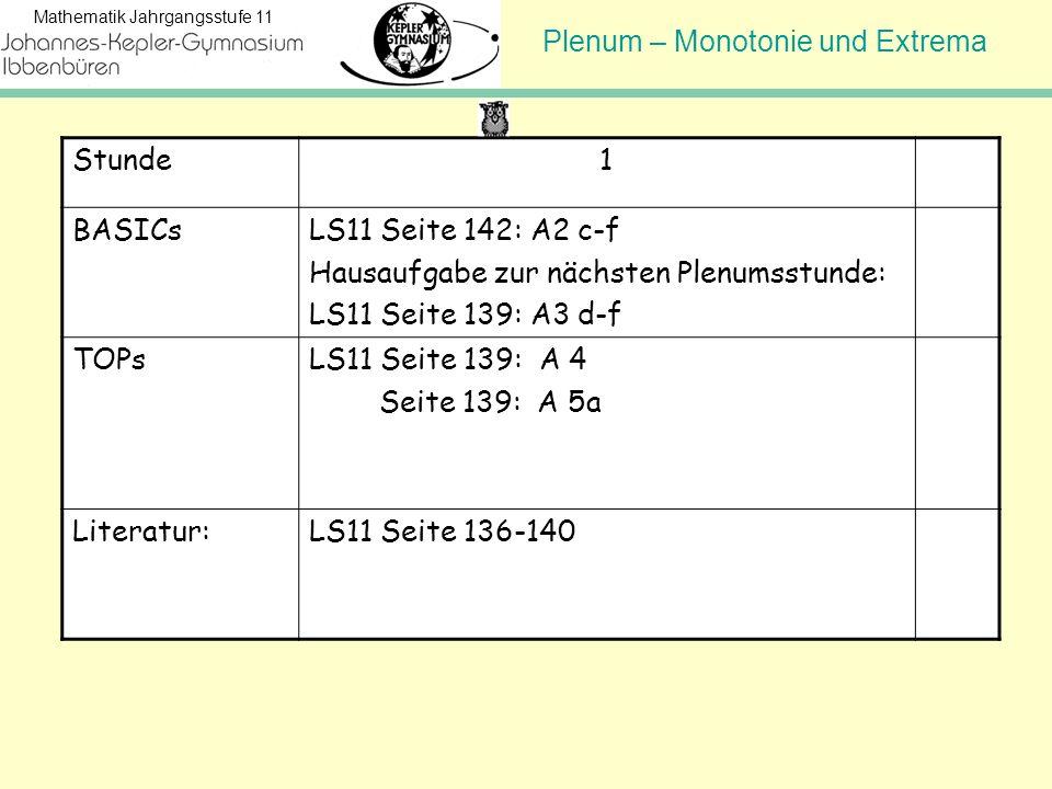 Stunde 1. BASICs. LS11 Seite 142: A2 c-f. Hausaufgabe zur nächsten Plenumsstunde: LS11 Seite 139: A3 d-f.