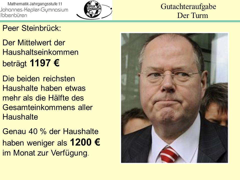 Der Turm Peer Steinbrück: Der Mittelwert der Haushaltseinkommen beträgt 1197 €