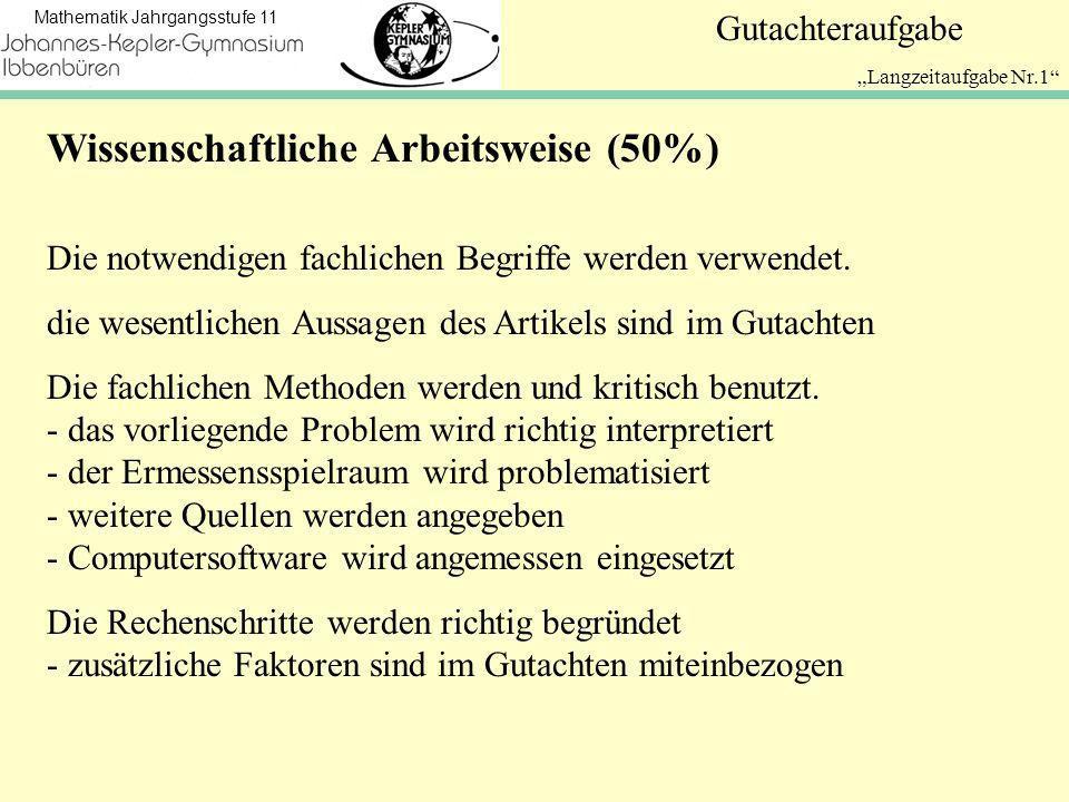Wissenschaftliche Arbeitsweise (50%)