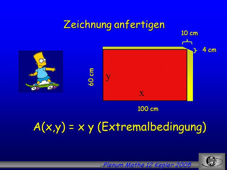 A(x,y) = x y (Extremalbedingung)