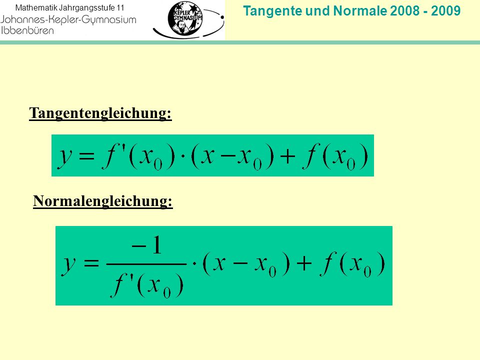 Tangentengleichung: Normalengleichung: