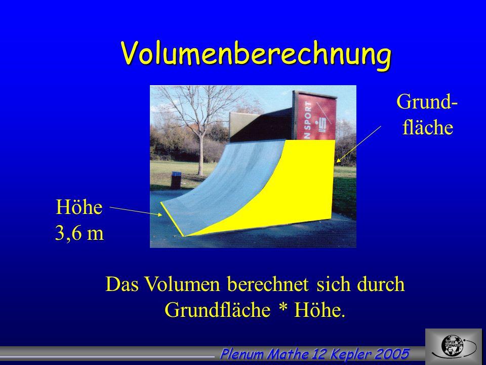 Das Volumen berechnet sich durch Grundfläche * Höhe.