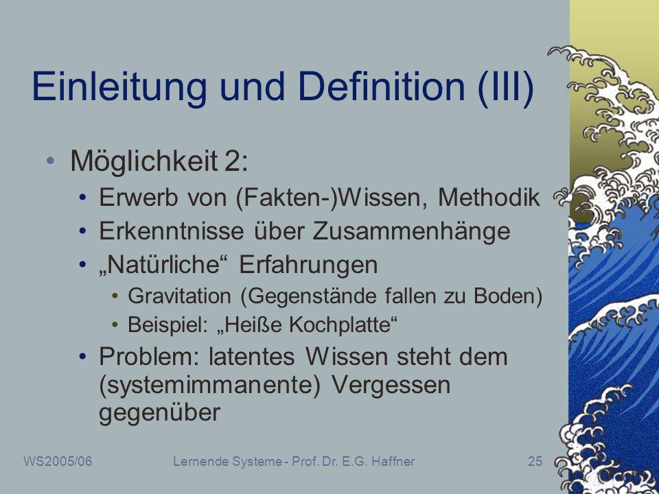 Einleitung und Definition (III)