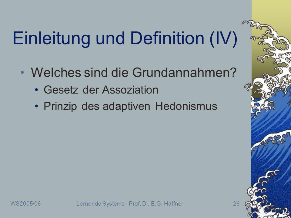 Einleitung und Definition (IV)