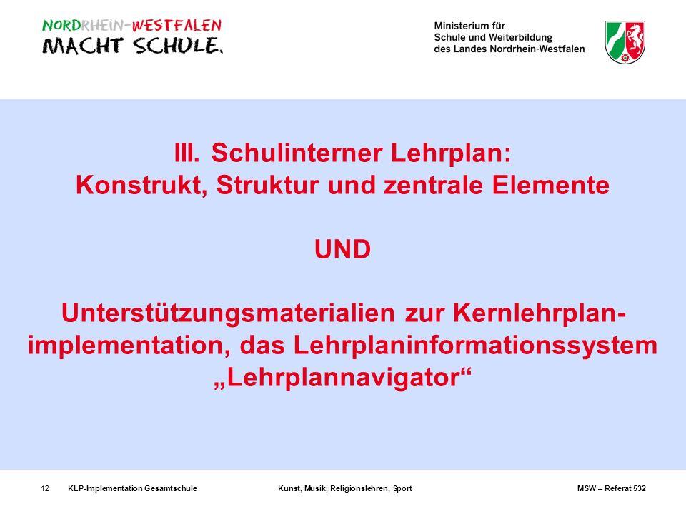 """III. Schulinterner Lehrplan: Konstrukt, Struktur und zentrale Elemente UND Unterstützungsmaterialien zur Kernlehrplan-implementation, das Lehrplaninformationssystem """"Lehrplannavigator"""