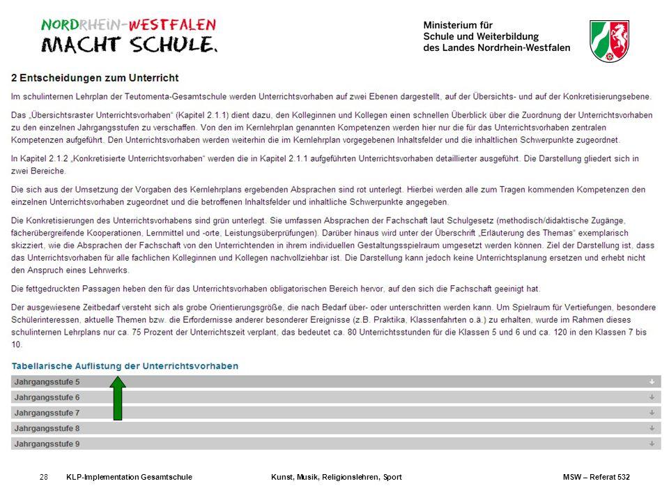 KLP-Implementation Gesamtschule. Kunst, Musik, Religionslehren, Sport