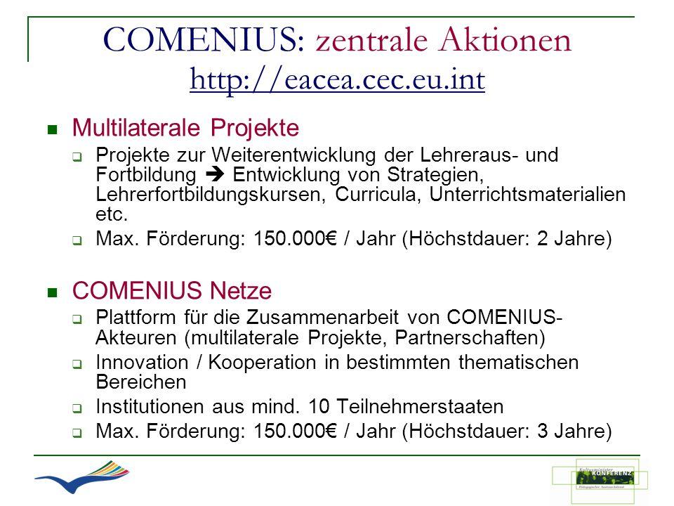 COMENIUS: zentrale Aktionen http://eacea.cec.eu.int